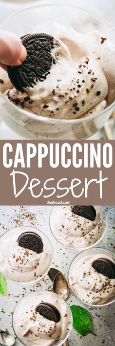 Cappuccino Dessert Recipe - A sweet and creamy dessert with a hint of coffee and a wonderful whipped texture. The taste will remind you of a Tiramisu, and the texture is similar to a mousse dessert. Easy Desserts, Delicious Desserts, Dessert Recipes, Yummy Food, Tasty, Dessert Dips, Wow Recipe, Mousse Dessert, Best Food Ever