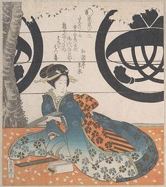Woman Seated Under a Cherry Tree About to Write a Poem on a Sheet of Paper for Poem Writing (Tanzaku)  Yashima Gakutei  (Japanese, 1786?–1868)  Date: 19th century Culture: Japan Medium: Part of an album of woodblock prints (surimono); ink and color on paper