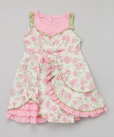 Look at this #zulilyfind! Pink & Cream Floral Ruffle Dress - Girls by Beetlejuice London #zulilyfinds