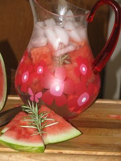After Workout Watermelon and Rosemary Power Water- 0 calories.  Did you know that Watermelon and Rosemary are both full of Potassium and Calcium? The combo makes this the perfect after workout drink.