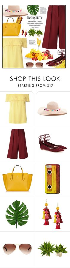 """""""Tranquility in summer"""" by ela79 ❤ liked on Polyvore featuring Dorothy Perkins, Maison Margiela, Loeffler Randall, Gucci, Kate Spade and Ray-Ban"""