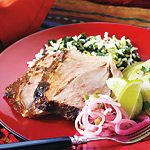 Mexican Slow-Roasted Leg of Lamb—Slow roasting gives you exceptionally tender lamb and allows the Mexican flavours to permeate the meat. You can substitute 2 tsp ancho chili powder for the whole ancho pepper; just mix it in with the ground spices.