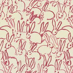 Ground works - Hutch Print By Artist Hunt Slonem Cute bunnies-Unique Design Use any time, or holiday Pillow Covers Fabric By The Yard  Linen- 54 wide  Repeat -Vertical 32  Height 27  1 yard fabric $ 95.00  Pillow Covers have invisible zipper