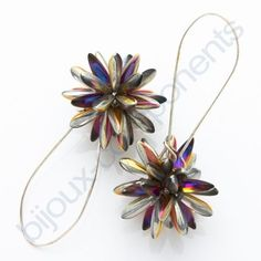 Beaded beads earrings with daggers. Each takes 30 daggers ~ Seed Bead Tutorials