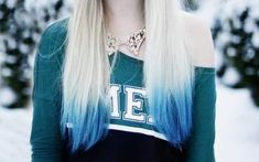 Super hair dyed blue tips dip dye ideas - All For Hair Color Balayage Blonde Hair With Blue Tips, Dark Blue Hair, Colored Hair Tips, Hair Color Blue, Cool Hair Color, Coloured Hair, Hair Colours, White Hair, Blonde Dip Dye