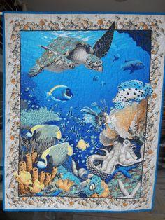 BonEful FABRIC Cotton Quilt Applique Square DOLPHIN Fish Ocean Beach Sea World