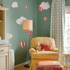Hot air balloon with Clouds Decal Set - Kids vinyl Wall Sticker