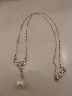Antique Art Deco 10k White Gold Seed Pearl Necklace.  #Unbranded #Pendant