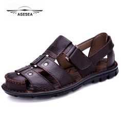 2018 summer new style outdoor beach men's sandals leather men's casual sandals men's non-slip soft rubber sandals Price history. Black Leather Shoes, Leather Sandals, Leather Men, Suit Shoes, Men's Shoes, Black Sandals, Men's Sandals, Women Sandals, Soft Slippers