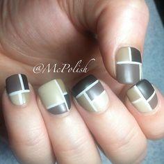 Tan, brown, taupe, cream, mosaic, color blocking using nail tape, white nail base, easy free hand nail art
