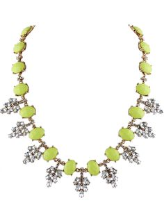White Gemstone Gold Leaves Necklace 10.60