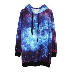 Blue Drawstring Hooded Long Sleeve Galaxy Sweatshirt ($40) ❤ liked on Polyvore featuring tops, hoodies, sweatshirts, sweaters, jackets, blue, blue pullover hoodie, graphic sweatshirts, galaxy print sweatshirt and galaxy hoodie