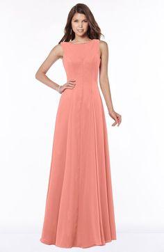 Desert Flower Modest A-line Scoop Sleeveless Zip up Chiffon Bridesmaid Dresses