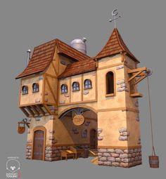 Resultado de imagem para houses medieval art fantasy