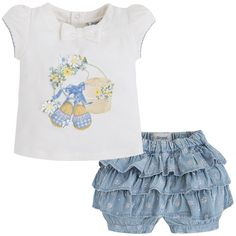 Mayoral Kız Bebek Yazlık T-shirt Denim Şort Set Koyu Mavi
