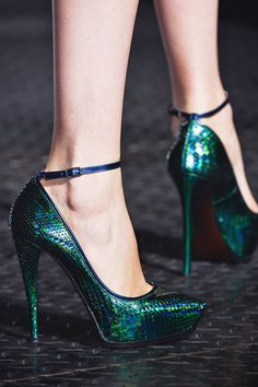 Lanvin (by Alber Elbaz) Peacock-green glossy python platform pumps with ankle straps, Spring 2013 Collection.