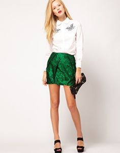 ASOS Premium Folded Mini Skirt in Spot Print