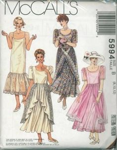 An unused original ca. 1992 McCall's pattern 5994.  Misses' Vintage dress and slip:  Very loose-fitting dress with skirt gathered to bodice at normal waistline has lace trim; dress features over-skirt, opened in front, that can be buttoned to bodice; pullover slip has contrasting lace-trimmed ruffle and ribbon shoulder straps.