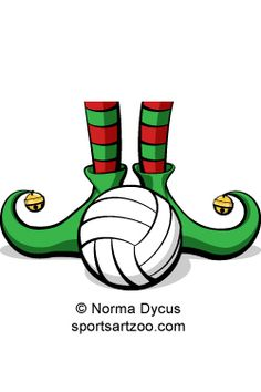 Volleyball Christmas Elf Feet by SportsArtZoo #volleyball #Christmas #elf