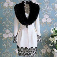 2012 Womens Winter Woolen Lace Hem Fur Collar Coat Slim Long Jacket s M L XL Hot | eBay