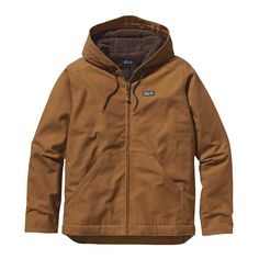 "Patagonia Men's Lined Canvas Hoody - Built to go the distance on long work days and constructed with rugged 10-ounce, 100% organic cotton canvas. The body and hood are lined in ¼""-pile fleece. The underarms are gusseted and elbows are articulated for more range of motion."