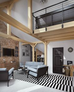 The beautiful white wood floors make this loft unique Two key elements make this apartment so unique. The white wooden floor and the exposed beams are remarkable elements of the decor … decoration of the house Loft Interior Design, Interior Design Inspiration, White Hardwood Floors, White Wooden Floor, Design Scandinavian, Unique Flooring, Loft Interiors, Barn House Plans, Urban Loft