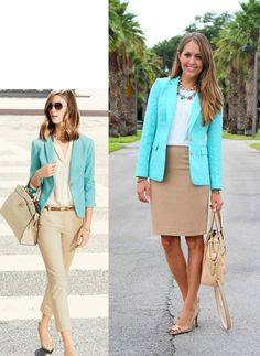 A mint blazer with beige skirt or trousers Today& Everyday Fashion Trouser Outfits, Blazer Outfits, Casual Outfits, Fashion Outfits, Classic Outfits, Work Outfits, Fashion Tips, Fashion Trends, Turquoise Blazer