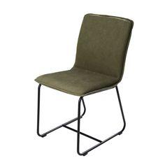 Zwarte, metalen stoel met bekleding van olijfgroen katoen