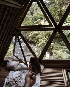 Perfect afternoon ✨ with my wifey 💕 Cabins In The Woods, House In The Woods, Bamboo House, Dome House, A Frame House, Spanish House, House Goals, Cool Rooms, Architecture Details