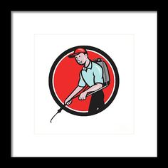 Pest Control Exterminator Spraying Circle Cartoon Framed Print by Aloysius Patrimonio.  Illustration of a pest control exterminator spraying viewed from the side set inside circle on isolated background done in cartoon style. #illustration #PestControlExterminator