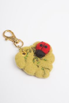 Wool Needle Felted Keychain Bag Charm with Green by LigaKandele