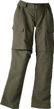 The North Face convertible pants- lightweight, nylon abrasion-resistant, water-repellent... It even has loops on the belt to store the pant legs if you want to zip them off.  $52