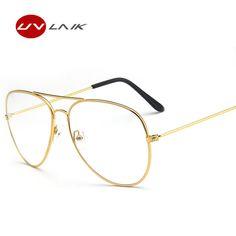 Classic Piloto gafas de Sol Marcos Ópticos Gafas Lente Transparente Claro Gafas Hombres de Las Mujeres de Aleación de Metal Gafas Marco Óptico