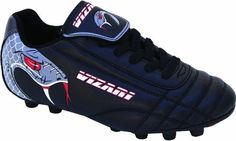 Vizari - Snake Soccer Cleat - Black/Silver/Red - 8 by Vizari. $18.49. Vizari Youth Snake FG Soccer Cleats...Added Fun On The Field! Vizari Youth Snake FG Soccer Cleats feature: Durable synthetic leather upper for excellent feel Cool snake graphics Padded heel collar lining enhances comfort Two color molded rubber provides great traction Rubber sole stitched to upper for added durability For use on firm natural surfaces Colors: Black/Red Sizes: 10-13 (whole & 1/2 sizes), 1-5 (whol...