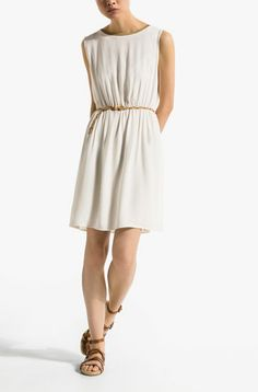 DRAPED DRESS WITH GOLD NECK WITH A BELT - View all - Dresses - WOMEN - United States