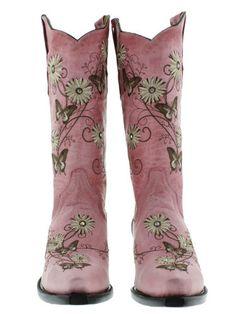Womens Cowboy Boots Ladies Gringo Love Butterfly Flower Rhinestone Old Pink Snip | eBay