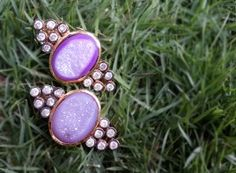 For sale ~ Purple Druzy Gold Tone Earrings