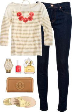 Gold by classically-preppy featuring red rhinestone jewelry ❤ liked on PolyvoreJ.Crew sailor t shirt / J Brand mid rise skinny jeans, $280 / Jack Rogers sandals / Tory Burch wallet / Red rhinestone jewelry / Michael Kors jewelry / Marc Jacobs daisy perfume, $73 / Essie formaldehyde free nail polish