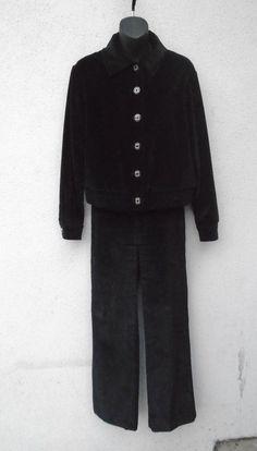 ST. JOHN SPORT By Marie Gray Jet Black Velvet Pants Set Suit Silver Sparkle Sz 4 #StJohnSport #PantSuit