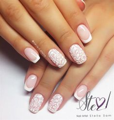 Wedding nails by StellaSam from Nail Art Gallery - Wedding nails by StellaSam from Nail Art Gallery - Lace Wedding Nails, Wedding Nails Design, Pretty Nails, Cute Nails, May Nails, Bridal Nail Art, Fall Nail Art Designs, Bride Nails, Sparkle Nails