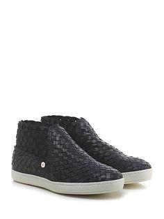 CESARE P. - Sneakers - Uomo - Sneaker in pelle intrecciata effetto delavè e tessuto elasticizzato con suola in gomma, tacco 20. - NERO - € 249.00