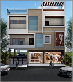 elevation at medchal Flat House Design, House Front Design, Front Elevation Designs, House Elevation, 30x50 House Plans, Commercial Office Design, 2nd Floor, Building Design, Modern Architecture