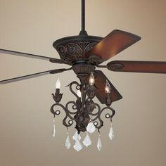Casa Contessa Dark Bronze Chandelier Ceiling Fan - #55878-56255-4G154 | LampsPlus.com