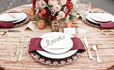Simple gold & marsala tablescape