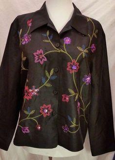 SLB Button Down Jacket Womens sz L Black Silk floral Embroidered Blazer #SLB #BasicJacket #Formal