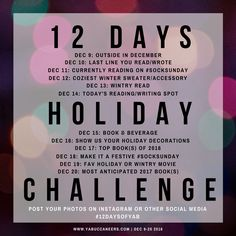 Join our #12DaysofYAB holiday photo challenge! Join the YA Buccaneers for our #12DaysofYAB holiday photo challenge! Check in with us by following the prompts, and share on Twitter, Instagram, Facebook, or your blog. Read the post for more info >>>  http://www.yabuccaneers.com/blog/2016/12/9/join-our-12daysofyab-holiday-photo-challenge
