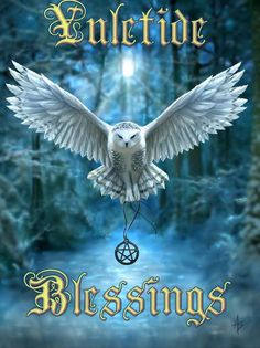 Snowy Owl YULE Card Anne Stokes Owl in flight Pentacle Pagan Solstice Greeting Card Pagan Yule, Wiccan Witch, Magick, Witchcraft, Pagan Art, Anne Stokes, Solstice And Equinox, Winter Solstice, Christmas Owls