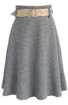 Nifty Houndstooth Wool-blend A-line Skirt - Skirt - Bottoms - Retro, Indie and Unique Fashion