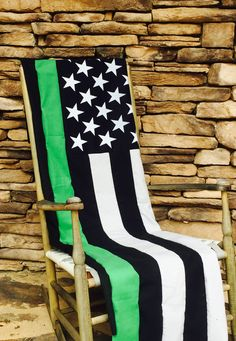Thin Green Line Throw - Blanket - Federal Agents - Bordered Patrol - Park Rangers - American Flag - Quilt - Border Agent