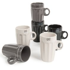 Set of 6 Factory coffee cups
